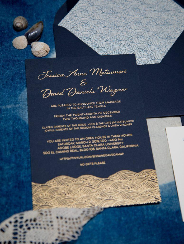 wedding invitation gold foil navy paper Archives