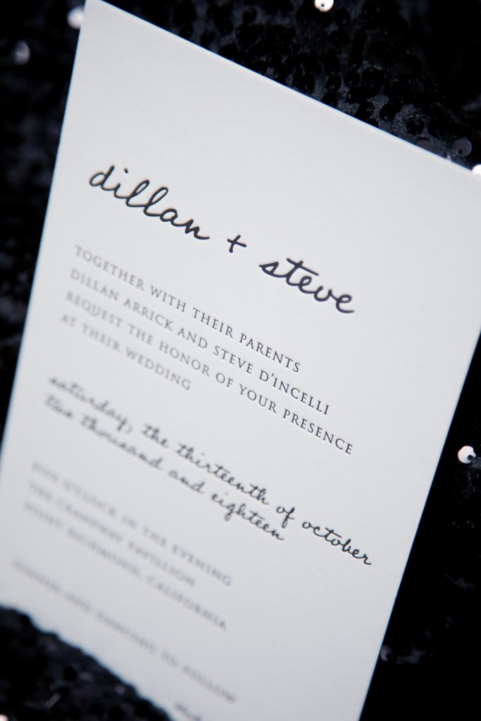 Close up of a black and white, modern letterpress wedding invitation showing the texture of the letterpress printing in thick bright white cotton paper