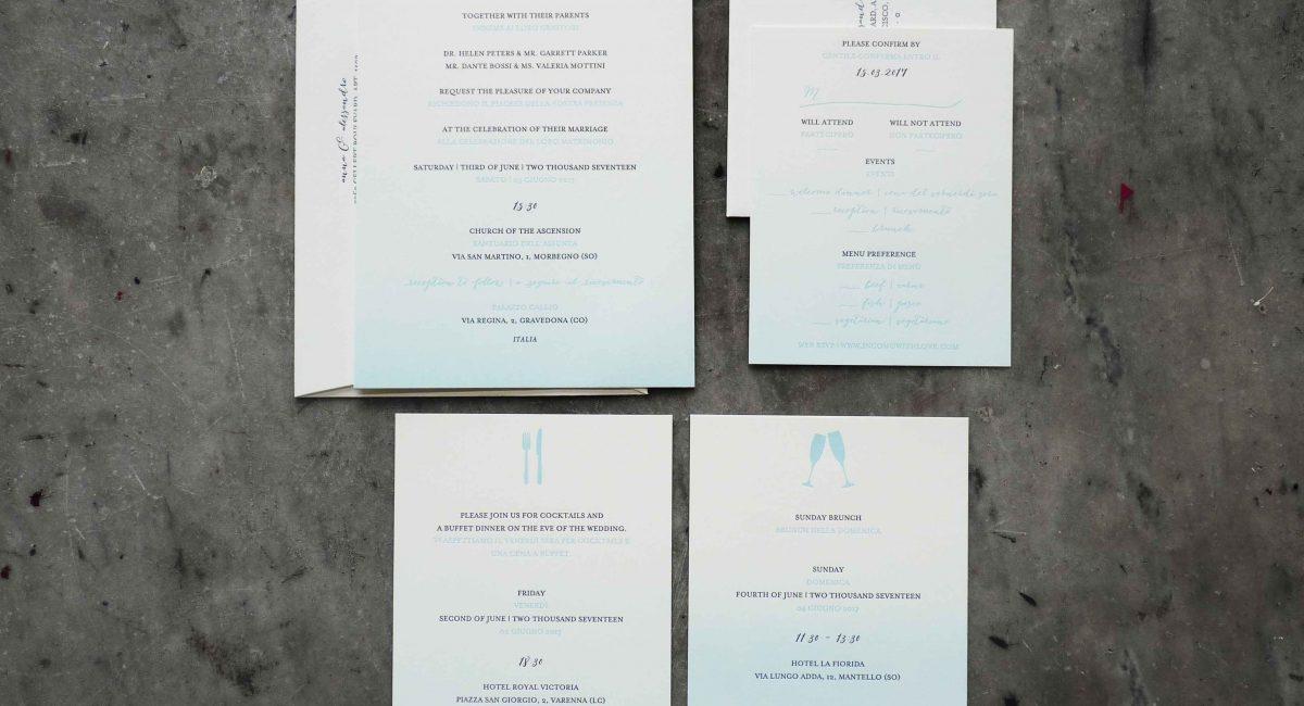 Fade, Ombré, Letterpress Printed, Wedding Invitations, Wedding Suite, Wedding Invitations, Invitations, RSVP, Bilingual Wedding Invitations, Graphic Design , Custom Design