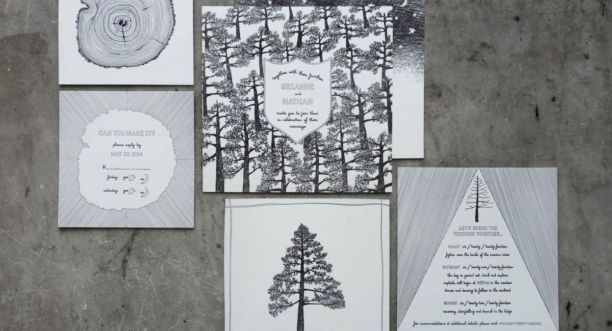 Wedding Invitations, Letterpress Printed, Unusual Paper, Monochromatic, Wedding Suite, Custom Design, Nature, Invitations, Wedding Stationery
