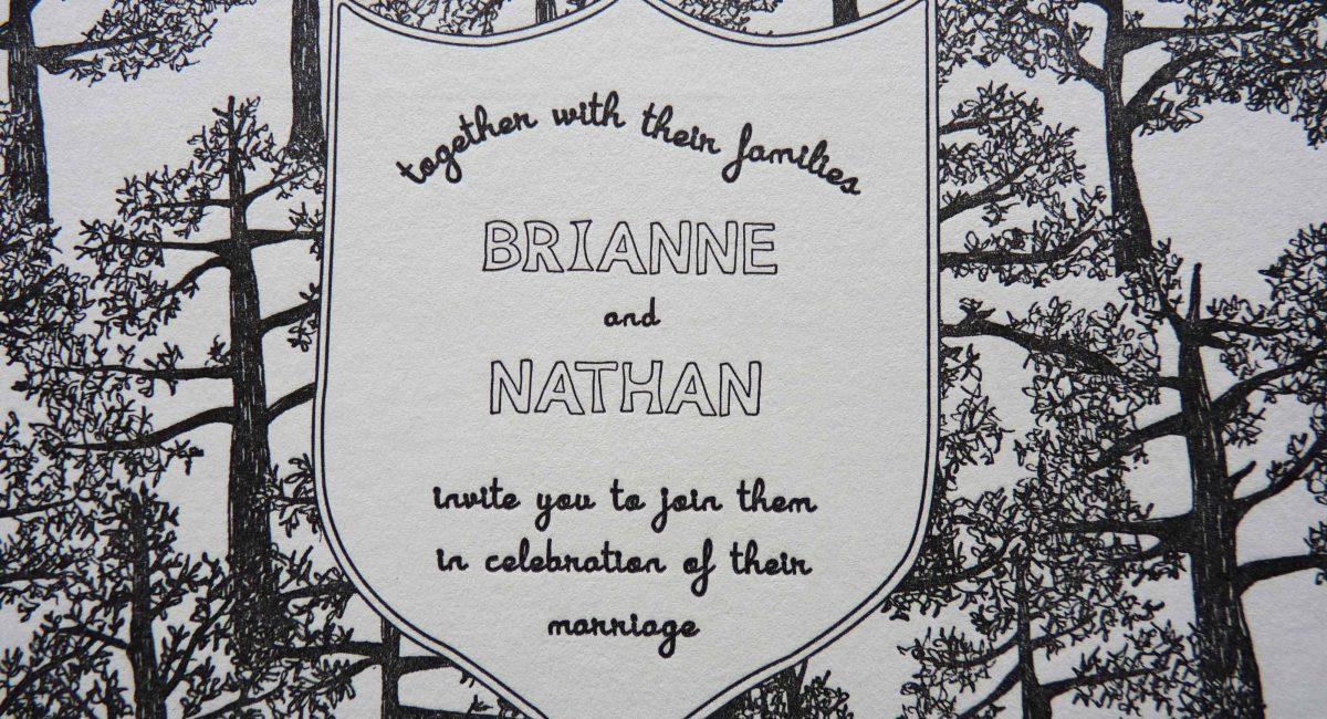 Wedding Invitations, Letterpress Printed, Unusual Paper, Monochromatic, Wedding Suite, Custom Design, Nature, Invitations, Wedding Stationery