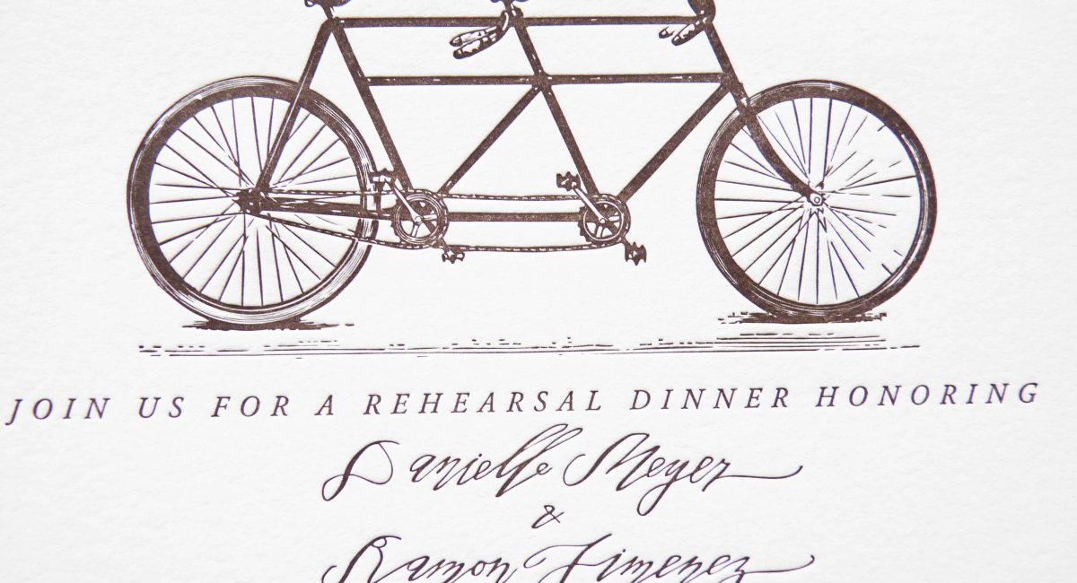 Wedding Invitations, Letterpress Printed, Handlettered, Monochromatic, Wedding Suite, Custom Design, Bicycle, Invitations, Wedding Stationery