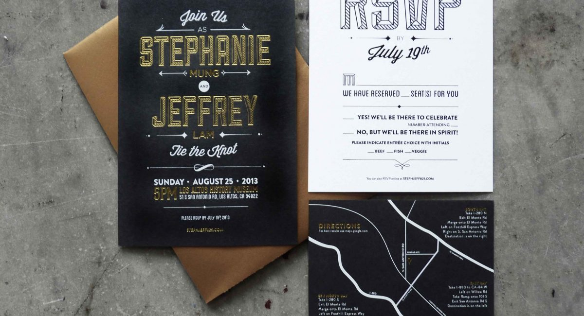 Wedding Invitations, Foil Stamped, Unusual Paper, Black, Gold Foil, Black Foil, Wedding Suite, Custom Design, Invitations, Wedding Stationery