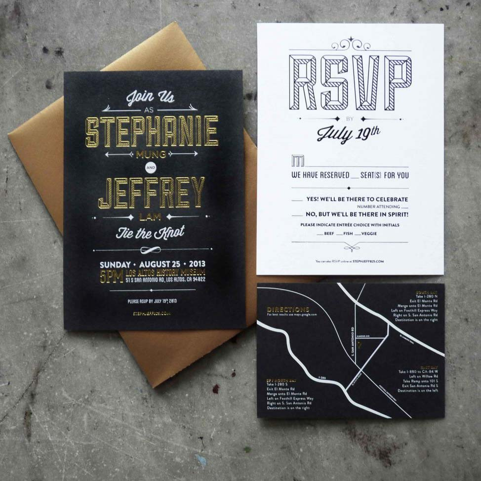Wedding suite on black paper with gold foil block lettering and white foil script; map in white and gold foil on black paper, bold typographic RSVP in black letterpress on whtie paper