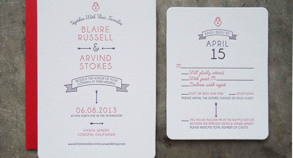 Wedding Invitations, Letterpress Printed, Wedding Suite, Custom Design, Invitations, Wedding Stationery, Die Cut, Rounded Corners