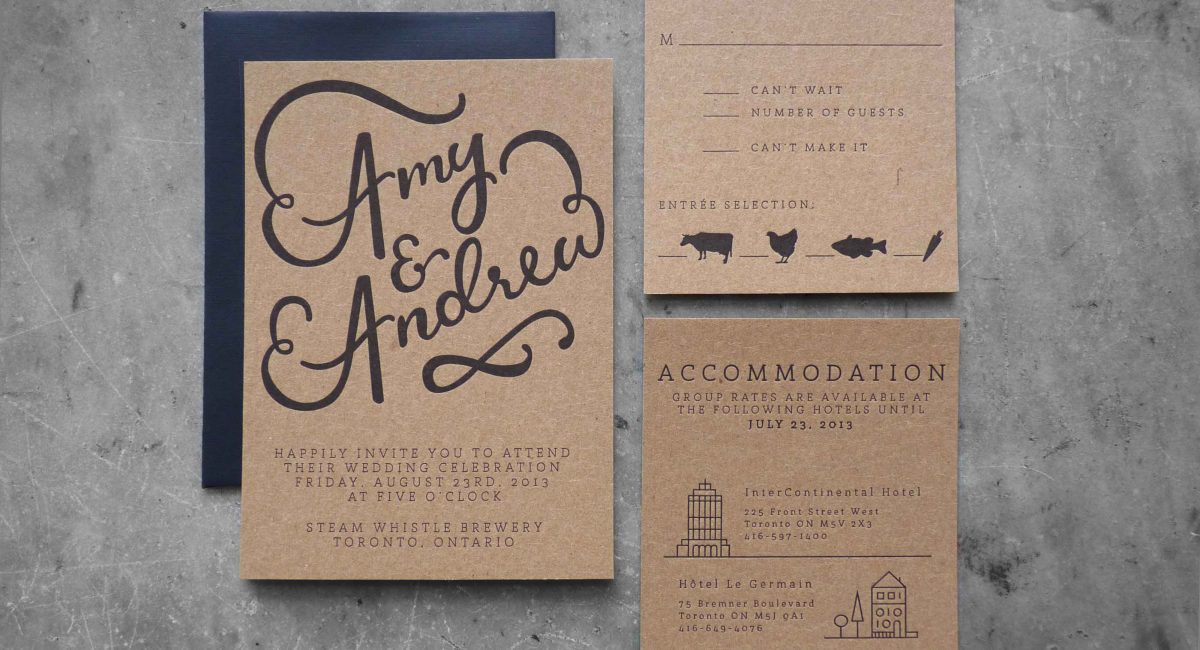 Wedding Invitations, Letterpress Printed, Handlettered, Monochromatic, Wedding Suite, Custom Design, Kraft Paper, Invitations, Wedding Stationery