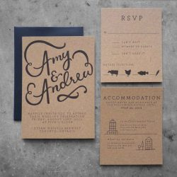 Letterpress printed wedding invitation suite; dark gray on chipboard with ribbon-like handlettering and clean modern type and small illustrations