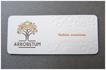 Blind deboss letterpress business card Arboretum