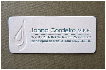 Blind deboss letterpress business card Janna Cordeiro