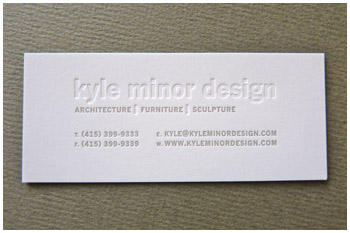 Blind deboss letterpress business card Kyle Minor Design