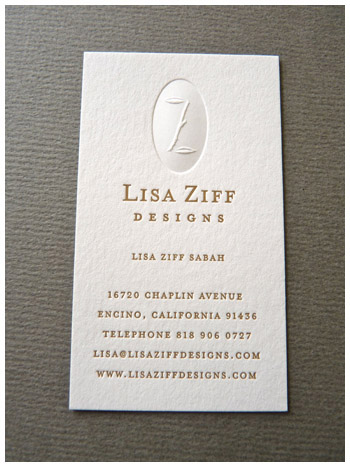 Blind deboss letterpress business card Lisa Ziff