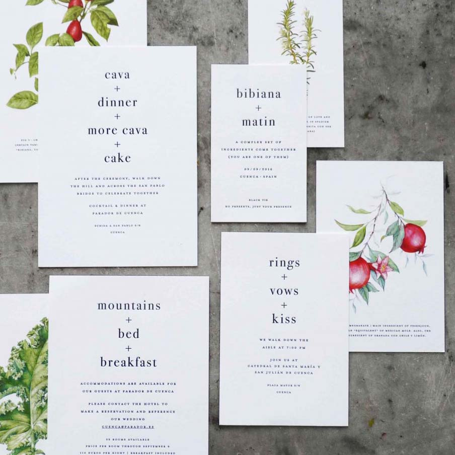 This letterpress wedding invitation suite with elegant modern minimalist type styling also features bright, stunning botanical illustrations digitally printed on the back of each card.