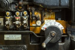 A close up of the Dials on a Heidelberg Press at Dependable Letterpress in Dogpatch, San Francisco, CA