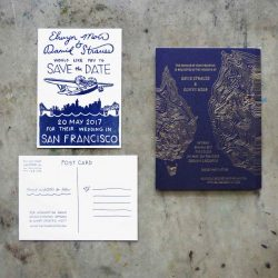 Letterpress save the date featuring a hand drawn biplane / propeller plane illustration over the San Francisco landscape, and wedding invitation with custom hand drawn topographic map printed in gold foil on navy blue stock