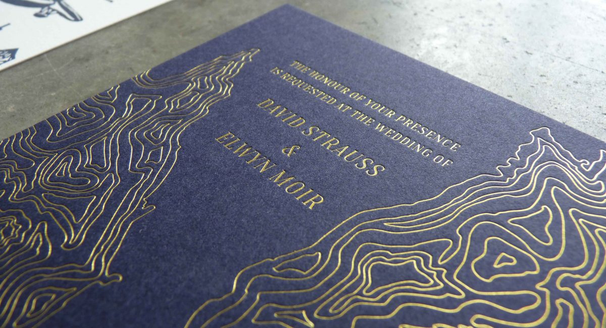 Wedding Invitations, Foil Stamped, Unusual Paper, Navy Paper, Gold Foil, Wedding Suite, Custom Design, Invitations, Wedding Stationery, Letterpress Printed