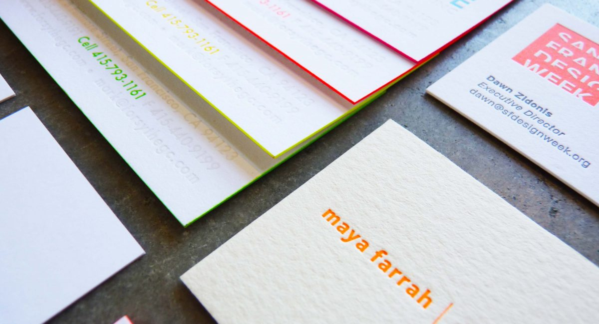Neon, Fluorescence, Unusual Paper, Letterpress Printing, Business Cards, Graphic Design, Painted Edges