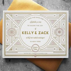 Letterpress and gold foil wedding invitation with gatsby / art nouveau inspired geometric patterns and unique block lettering. Gold envelope