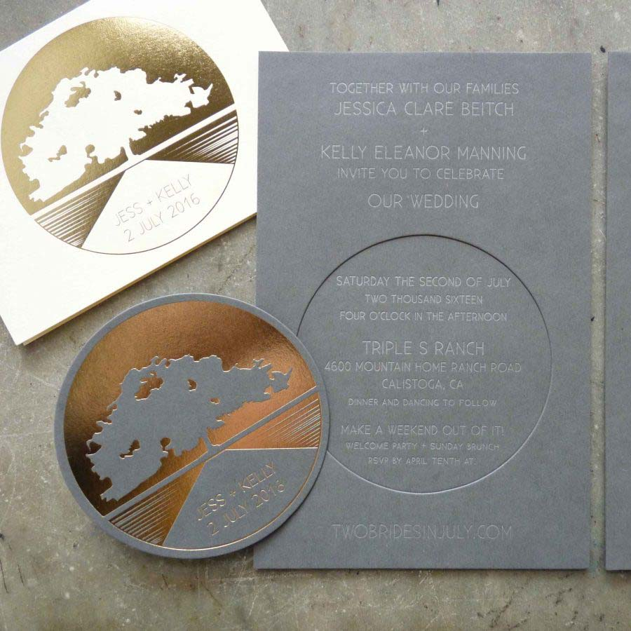 Letterpress wedding invitation with silver ink on dark gray stock with rose gold foilstampted keepsake coaster enclosed. For a wine country wedding at Triple S Ranch in Calistoga