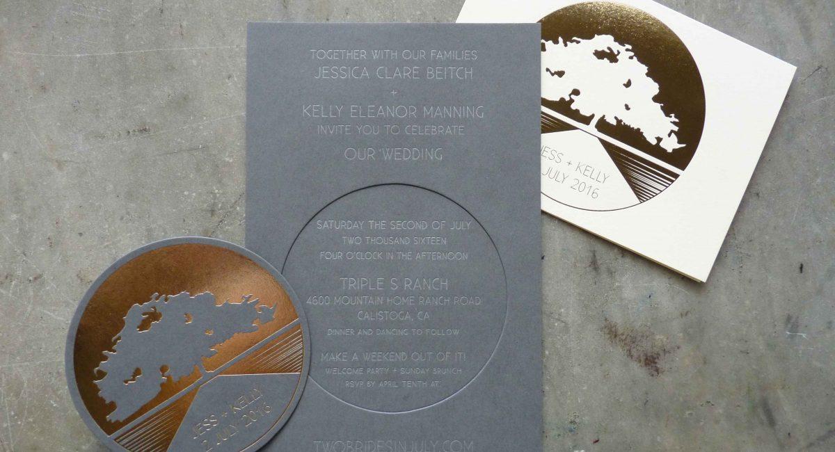 Wedding Invitations, Foil Stamped, Unusual Paper, Gold Foil, Gray Paper, Wedding Suite, Custom Design, Invitations, Wedding Stationery, Letterpress Printed