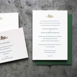 Classic wedding invitation with gold foil pinecones and traditional block type letterpress printed in green ink