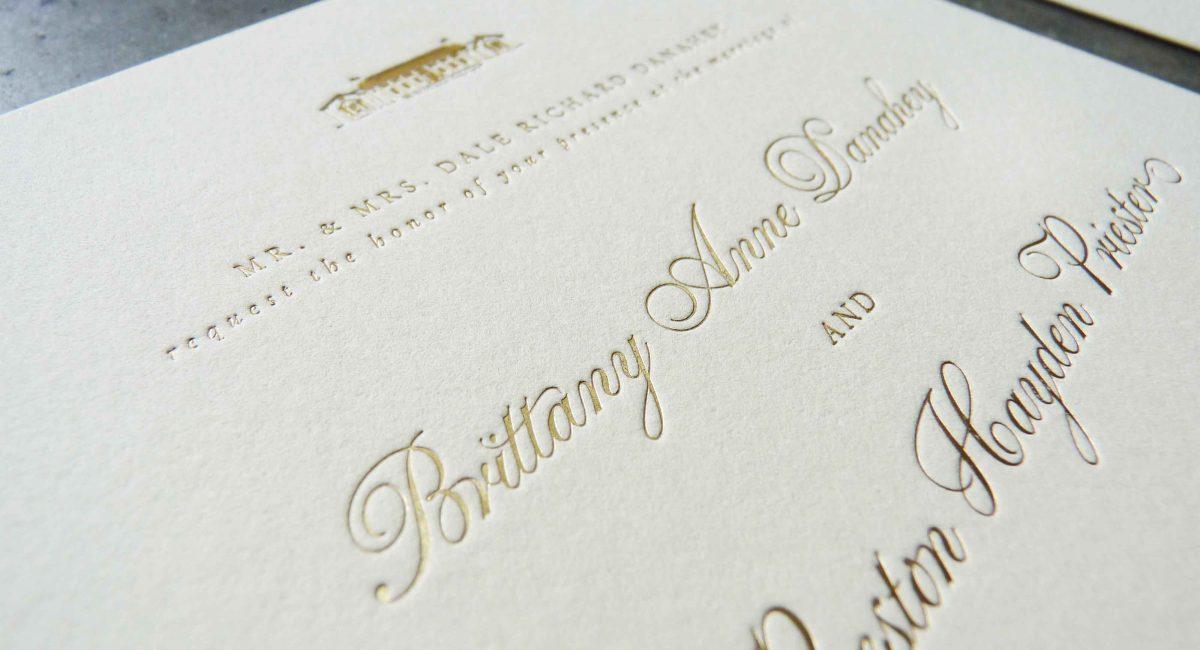 Wedding Invitations, Foil Stamped, Unusual Paper, Cream Paper, Gold Foil, Wedding Suite, Custom Design, Invitations, Wedding Stationery