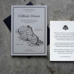 Letterpress in black ink on gray paper; coastal cliff illustration. Black envelope and contrasting RSVP card