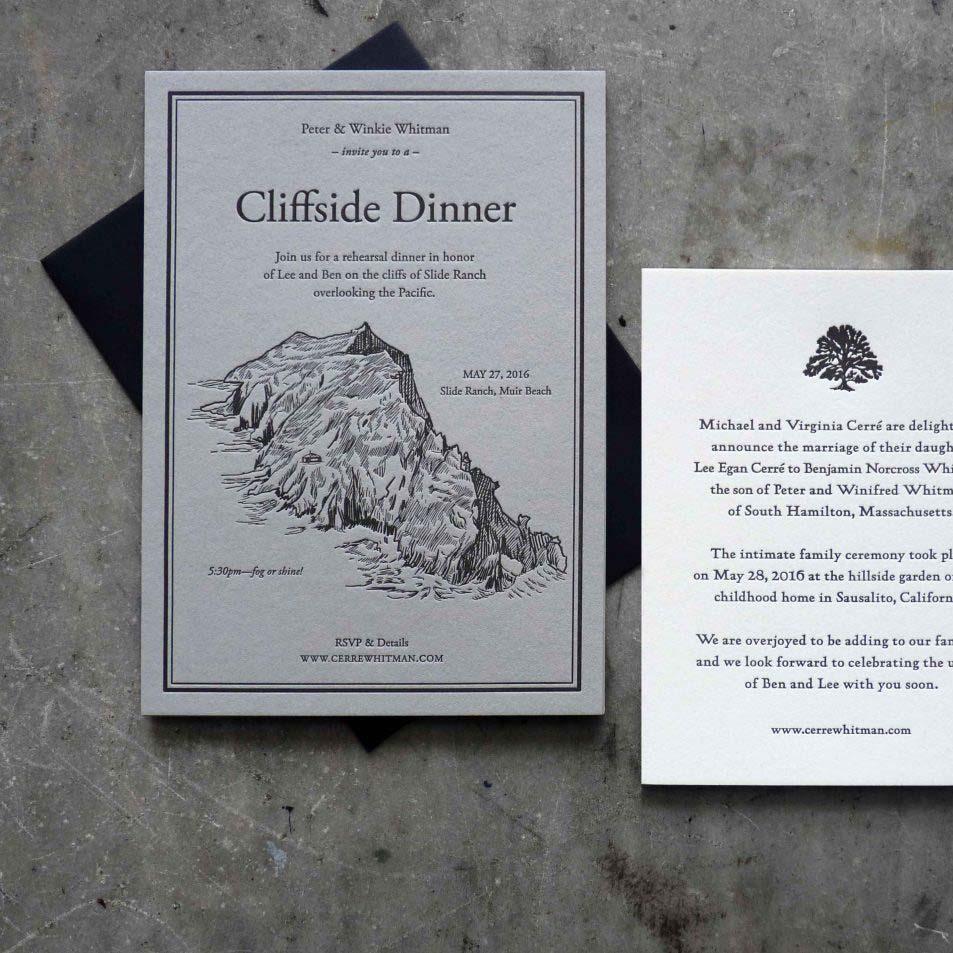 Letterpress in black ink on gray paper; coastal cliff illustration. Black envelope and contrasting RSVP card