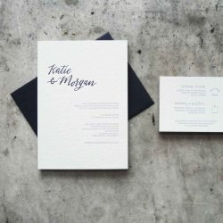 A letterpress wedding suite printed in black and gray on white cotton stock; handlettered script names and minimalist modern type. Black envelope and gray edge painting.