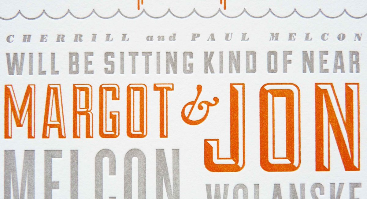 Wedding Invitations, Letterpress Printed, Textured Paper, Wedding Suite, Custom Design, Invitations, Wedding Stationery, Gray, Orange
