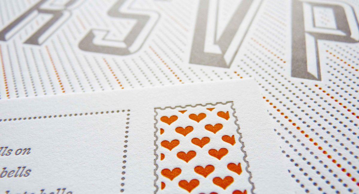 Wedding Invitations, Letterpress Printed, Textured Paper, Wedding Suite, Custom Design, Invitations, Wedding Stationery, Gray, Orange
