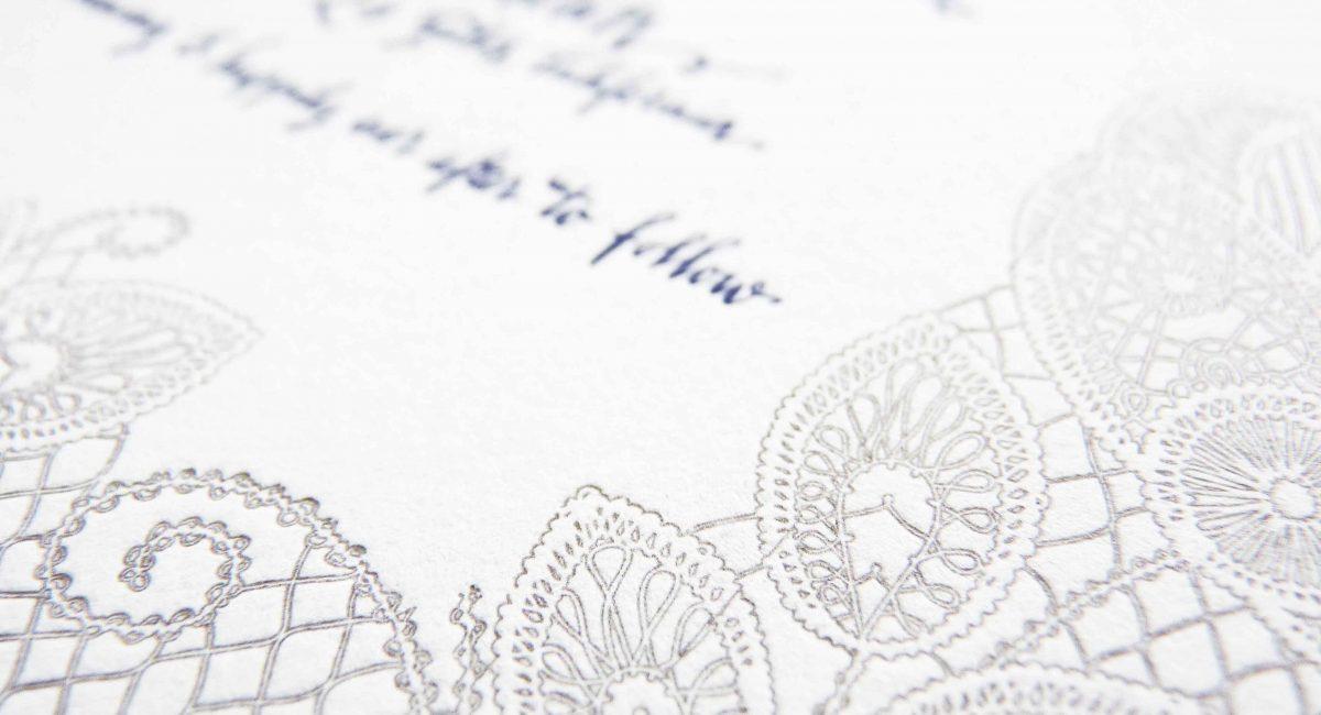 Wedding Invitations, Letterpress Printed, Textured Paper, Wedding Suite, Custom Design, Invitations, Wedding Stationery, Henna, Gray, Blue