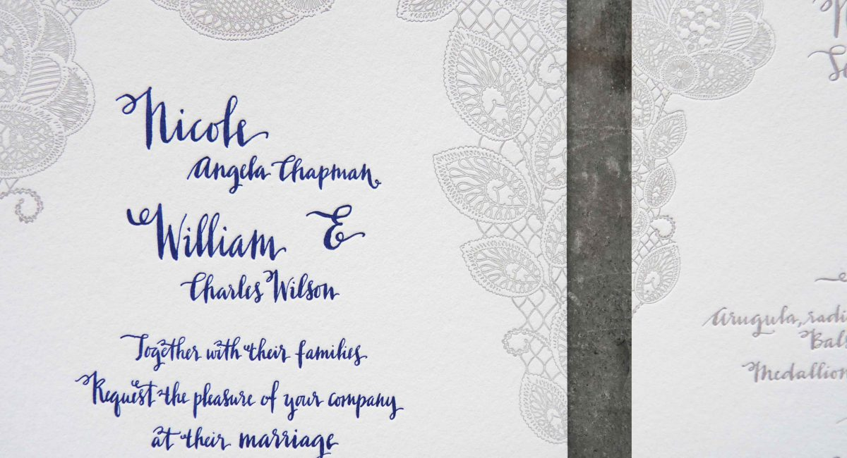 Wedding Invitations, Letterpress Printed, Textured Paper, Wedding Suite, Custom Design, Invitations, Wedding Stationery, Henna, Gray, Blue
