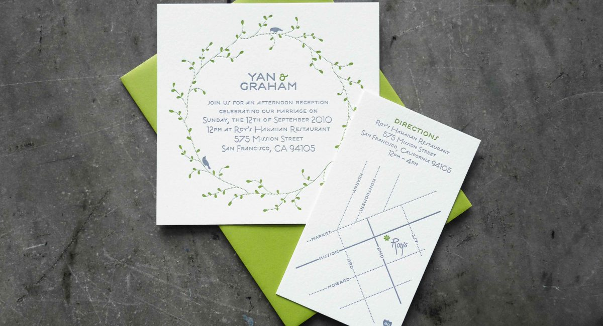 Wedding Invitations, Letterpress Printed, Textured Paper, Wedding Suite, Custom Design, Invitations, Wedding Stationery, Green, Gray