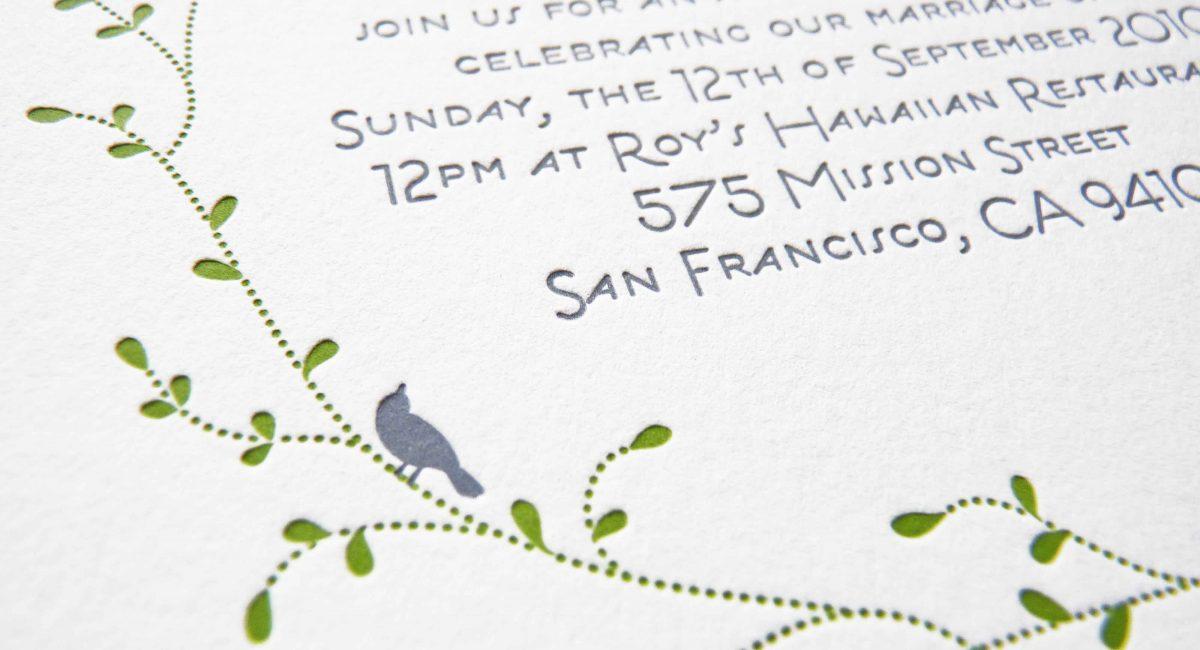 Wedding Invitations, Letterpress Printed, Textured Paper, Wedding Suite, Custom Design, Invitations, Wedding Stationery, Green, Gray