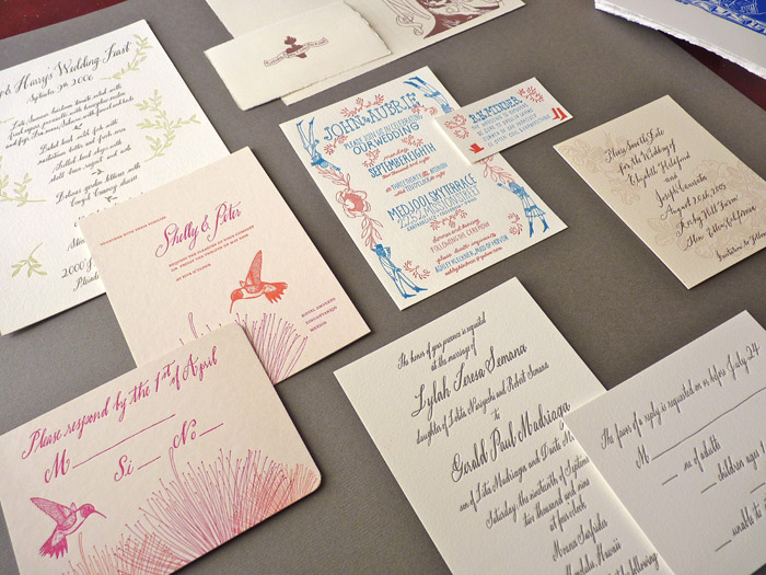 Hand-written hand-drawn letterpress invitations