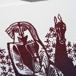 "detail shot of a unique wedding invitation featuring a medieval-style woodcut illustration of two lovers on a horse, with ombre ""rainbow roll"" colors from blue to purple to burgundy."