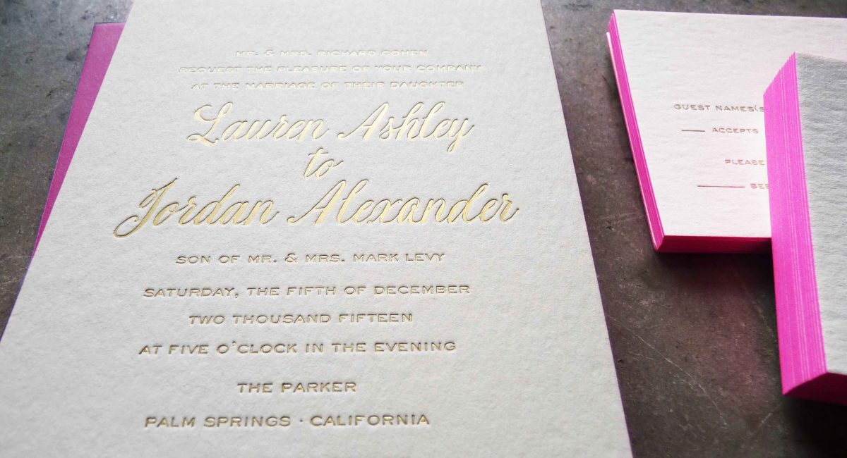 Wedding Invitations, Foil Stamped, Gold Foil, Wedding Suite, Custom Design, Invitations, Wedding Stationery, Letterpress Printed, Pink, Edge Painting