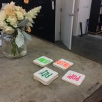 Letterpress printed coasters, wood type, fluorescent ink