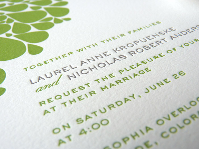 Green and grey modern leaves letterpress wedding invitation detail