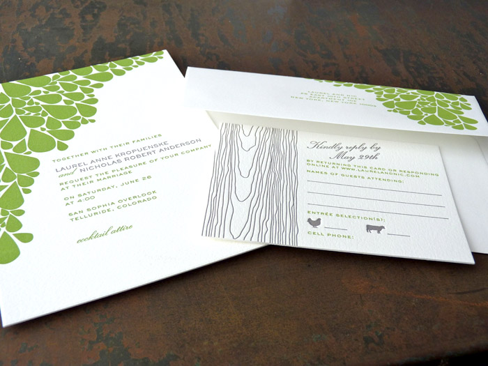 Green and grey modern leaves letterpress wedding invitation