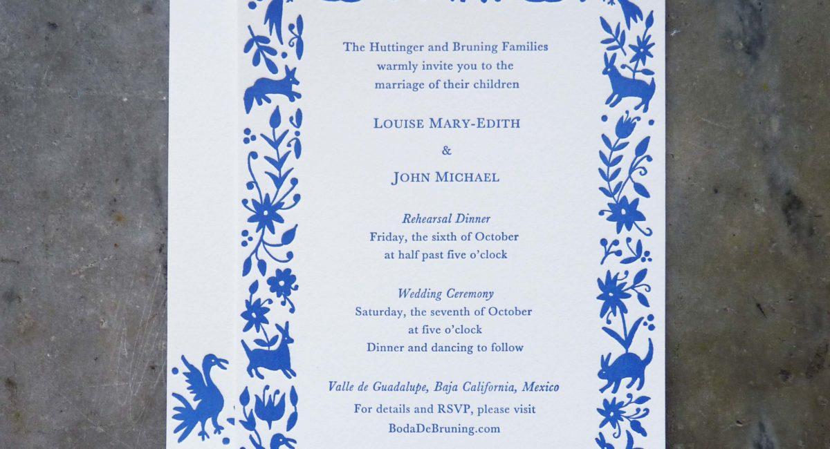 Otomi, Pattern, Mexican Folk Pattern, Letterpress Printed, Wedding Invitations, Wedding, Invites, Letterpress Printed Wedding Invitations, Custom Design, Typeset