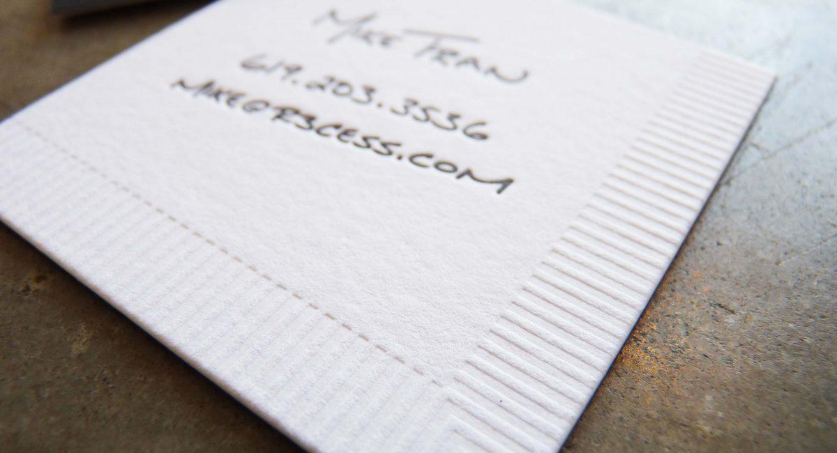 Blind Deboss, Creative Business Card, Odd Size, Letterpress Printing, Tint, Duplex, Square Business Card, Custom Design, Graphic Design, Napkin Business Card