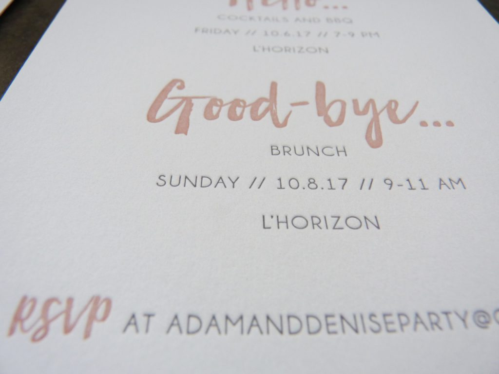 Details card for letterpress wedding suite on soft, thick, cotton paper with blush / rose ink for the headers and elegant, modern gray sans serif type for the text.