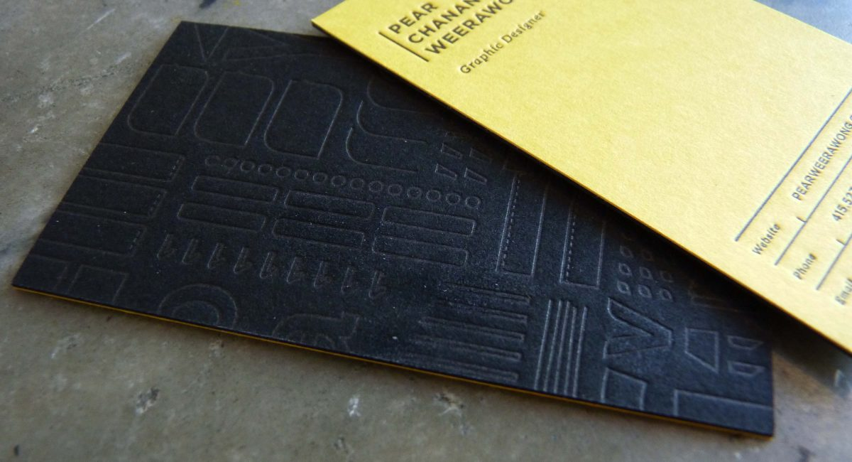 Business Card, Duplex, Letterpress Printed, Tint, Unusual Paper, Yellow, Black, Graphic Design