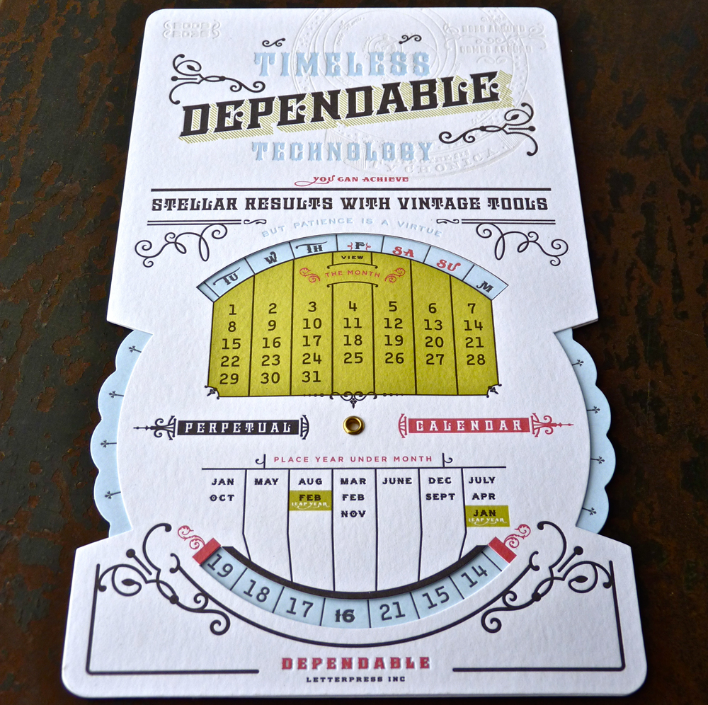 Perpetual Calendar - Dependable Letterpress