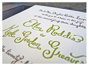 Hand-written letterpress wedding invitation