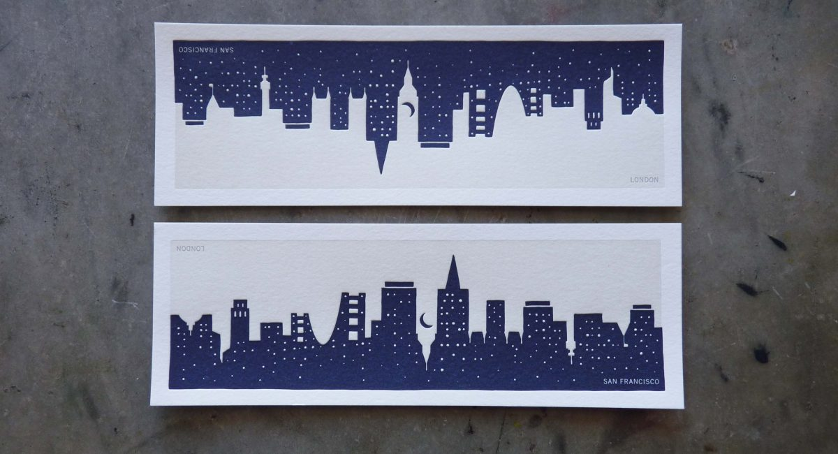 Manhattan Skyline, San Francisco Skyline, Art, Design, Negative Space, Letterpress
