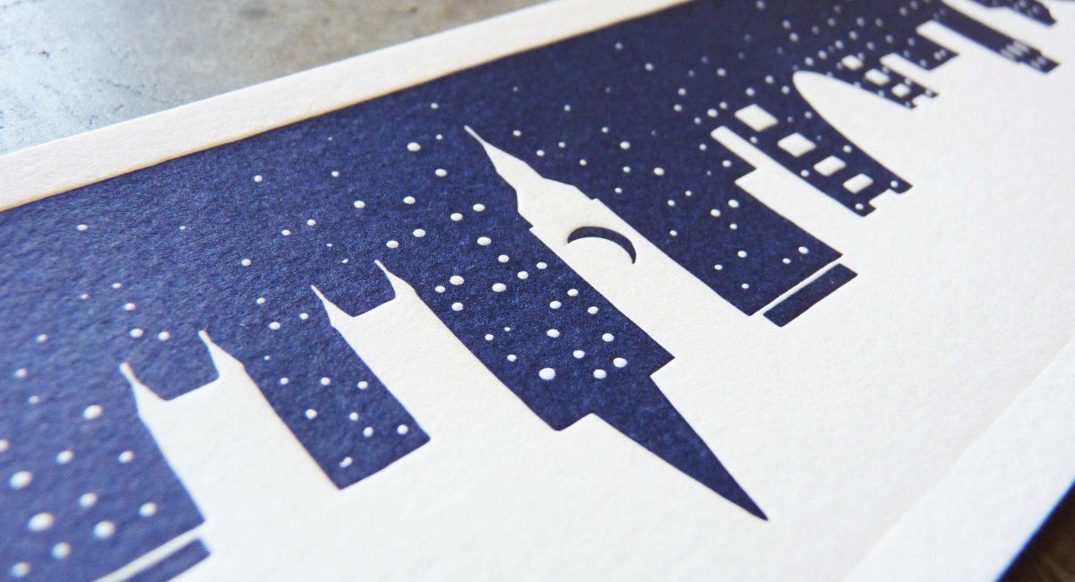 Manhattan Skyline, San Francisco Skyline, Art, Design, Negative Space, Letterpress