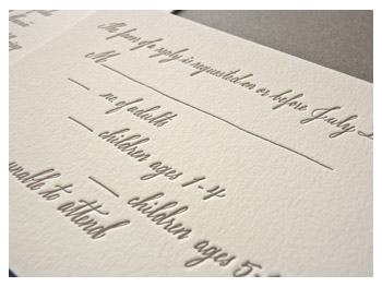 Hand-written calligraphy letterpress wedding invitation