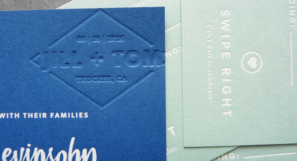 Wedding Invitations, Foil Stamped, Unusual Paper, White Foil, Blue Paper, Wedding Suite, Custom Design, Invitations, Wedding Stationery, Letterpress Printed